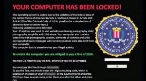 Τυπικό μήνυμα ransomware. Εννοείται ότι δεν έχει καμιά σχέση με FBI, αστυνομία κτλ